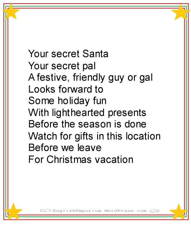 Best 25 secret santa poems ideas on pinterest secret for Fun secret santa gifts
