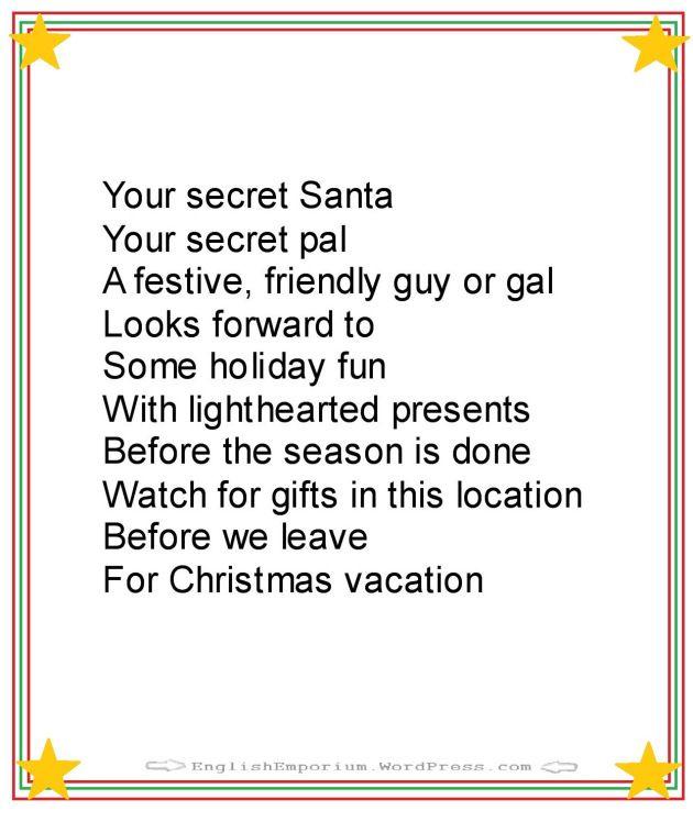 Christmas Poem for Secret Santa First Gift                                                                                                                                                                                 More