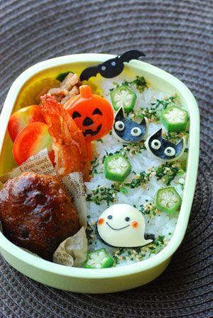 ハロウィン*おばけと黒猫のお弁当 - てしぱんさんの簡単かわいいおべんとさん レシピブログ - 料理ブログのレシピ満載!