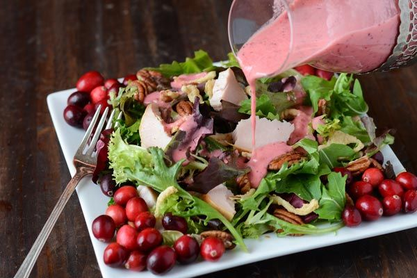 Turkey Salad with Cranberry Vinaigrette | use a low glycemic sweetener for the sugar