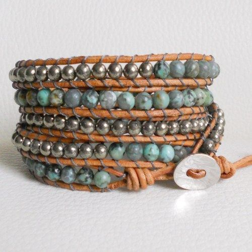 Natural Turquoise  and Pyrite beads, Leather Five Wrap Bracelet | LunaArt - Jewelry on ArtFire