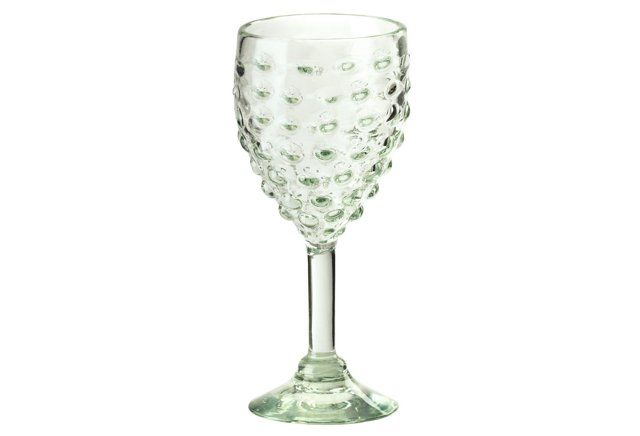 S/4 Dimpled Water Goblets, Green