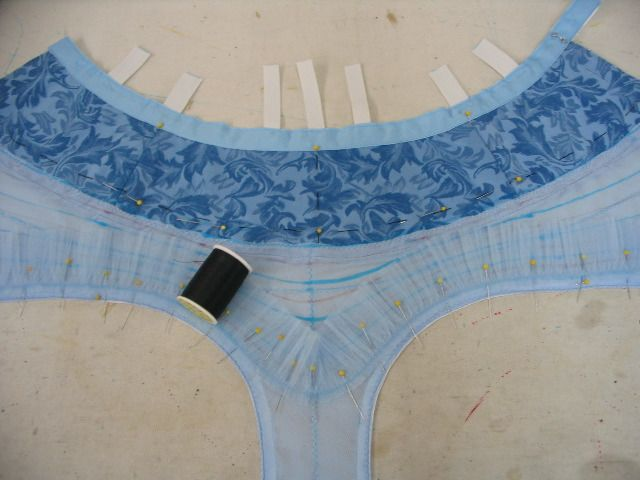 """The positioning for each layer is carefully measured and drawn. At the narrowest part(the front leg), ten tightly gathered layers must be sewn into a space of only about 2.5 - 3"""". Here you can see the 10th (bottom) layer is pinned on and ready to be sewn.After this, wepin and sew on the 1st (top) layer and continue working our way down, layer by layer."""