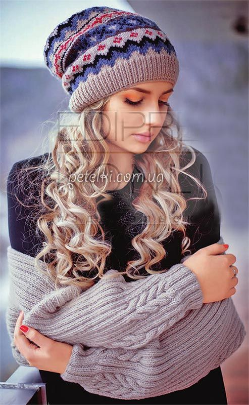 Теплый шраг и шапка спицами. Описание вязания, схемы