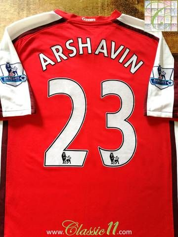 Official Nike Arsenal home football shirt from the 2008/09 season. Complete with Arshavin #23 on the back of the shirt in official Lextra Premier League lettering.