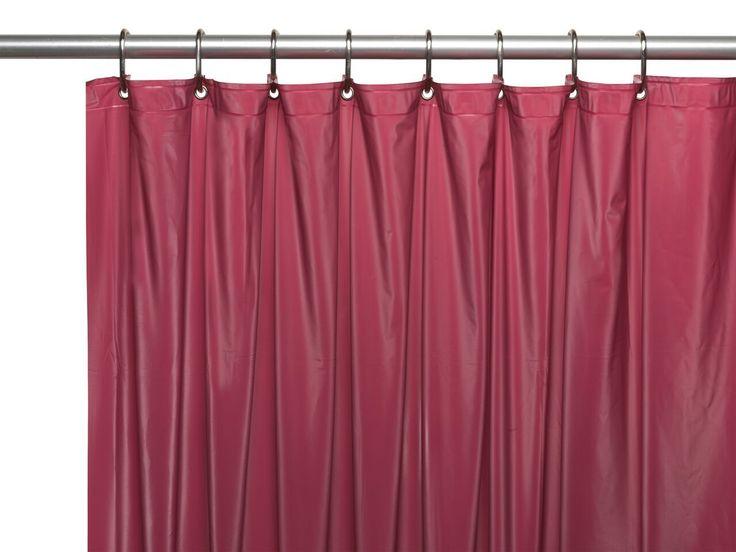 Burgundy 3 Gauge Vinyl Shower Curtain Liner With Metal Grommets And Magnets