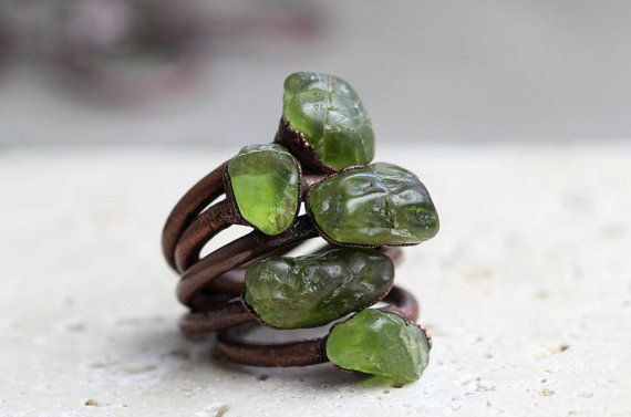 Peridot Ring Electroformed Stone Leo Birthstone Copper Ring Peridot Green Gemstone August Stone Delicate Ring