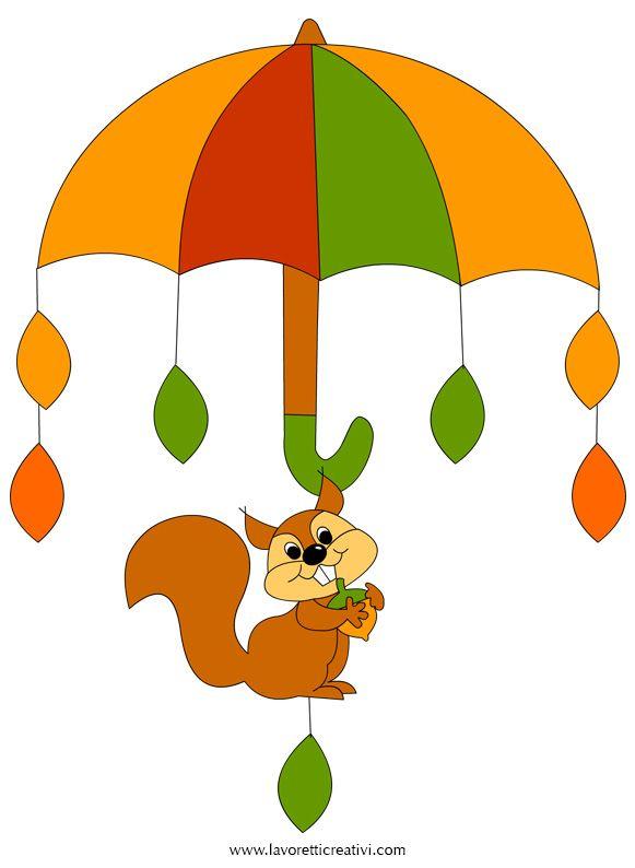 Pendente con ombrello, scoiattolo e foglie da attaccare sulle finestre o sulle pareti dell'aula scolastica nel periodo autunnale. LAVORETTI PER BAMBINI Add