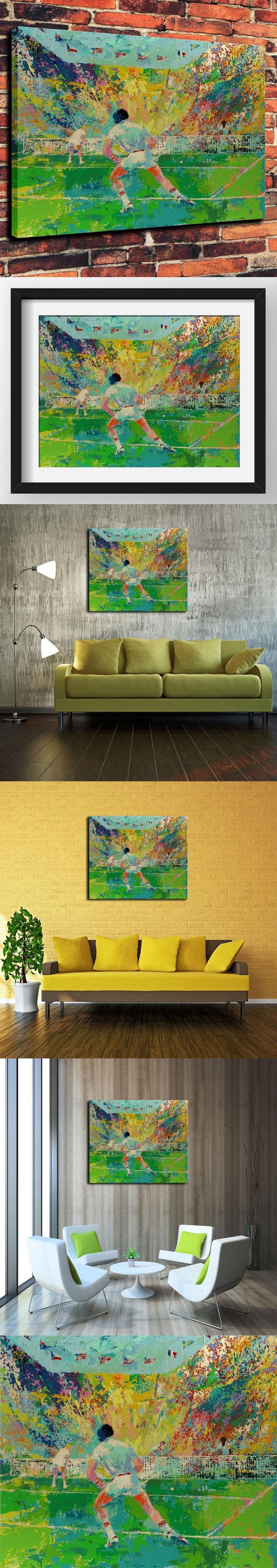 Canvas Artwork Prints Watercolor Oil Painting for Western Home Decor Which Badminton Courts By LeRoy Neiman Painted( No Framed ) $30
