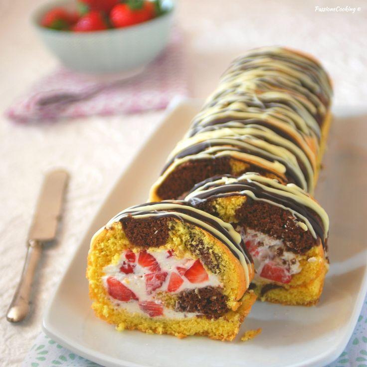 Rotolo bicolore con panna e fragole http://blog.giallozafferano.it/passionecooking/rotolo-bicolore-con-panna-e-fragole-goloso-e-veloce/