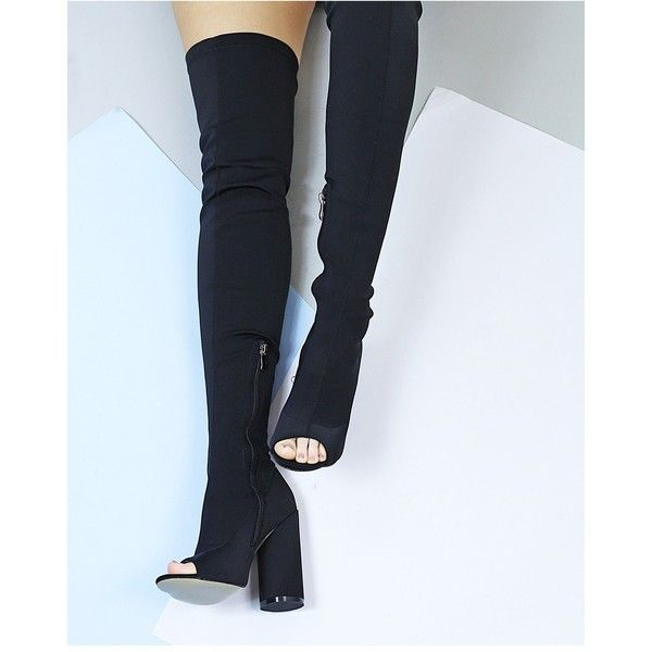 RENEGADE BLACK THIGH HIGH HEELED BOOT (£38) ❤ liked on Polyvore featuring shoes, boots, black over the knee boots, over the knee high heel boots, stretch thigh high boots, block heel boots and black thigh high boots