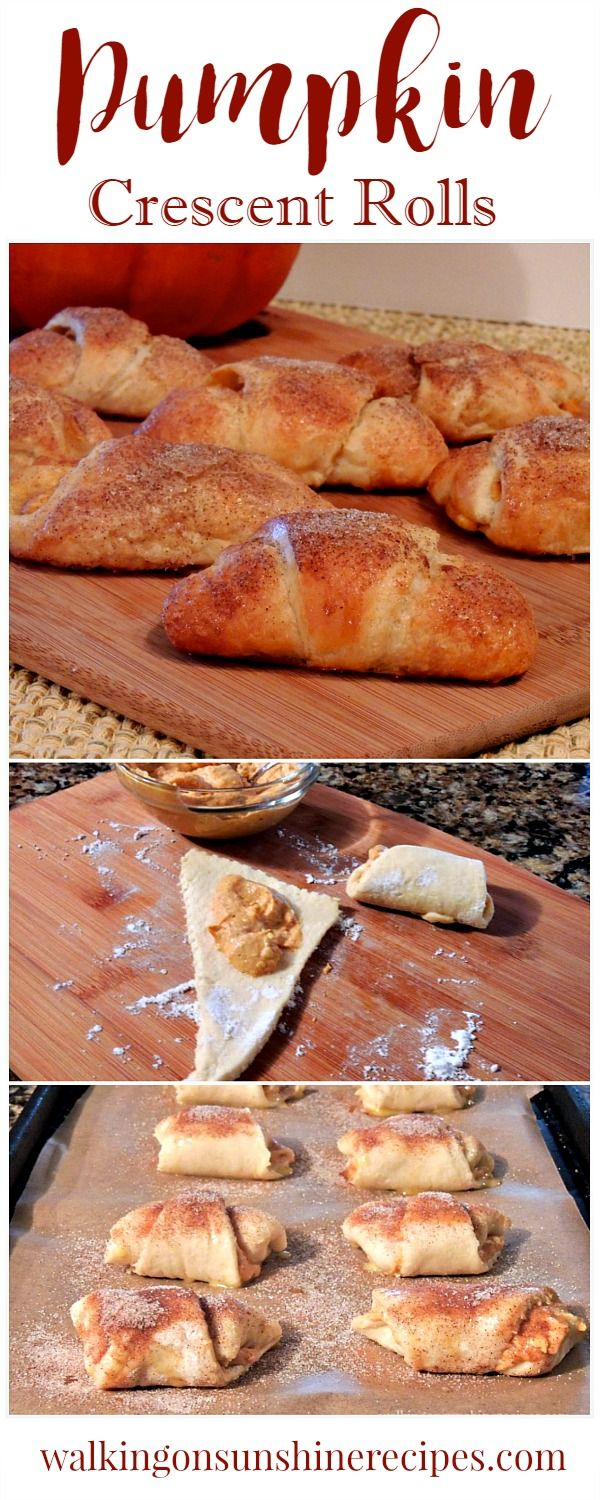 Pumpkin Cream Cheese Crescents from Walking on Sunshine Recipe are a delicious and easy treat to serve for breakfast, dessert or even an after-school snack.
