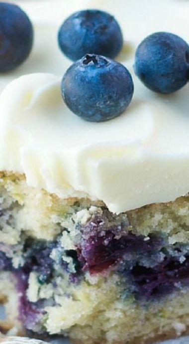 Blueberry Zucchini Snack Cake with Lemon Buttercream