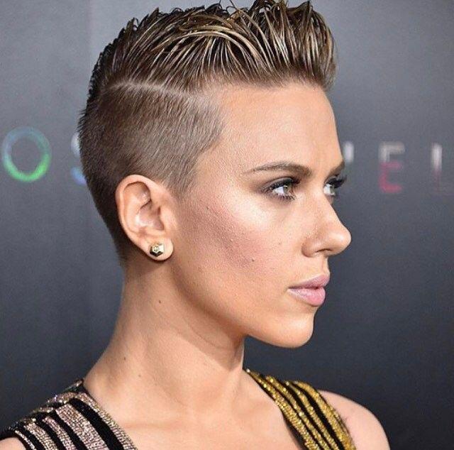 Scarlett Johansson with her buzzed pixie