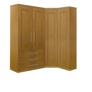 Schreiber Oak Corner Wardrobe Set With A Double Combi From Homebase Co Uk