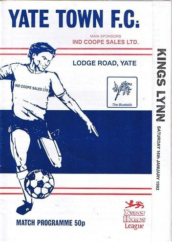 Away vs Yate Town , Kings Lynn FC 16/01/93 (Lodge Road)