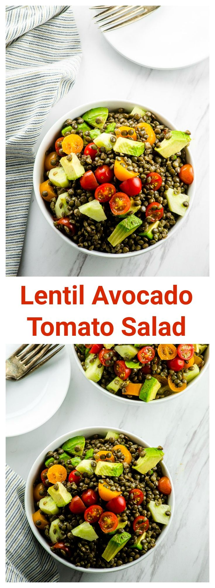 Lentil Avocado and Tomato Salad. A fresh, colorful…