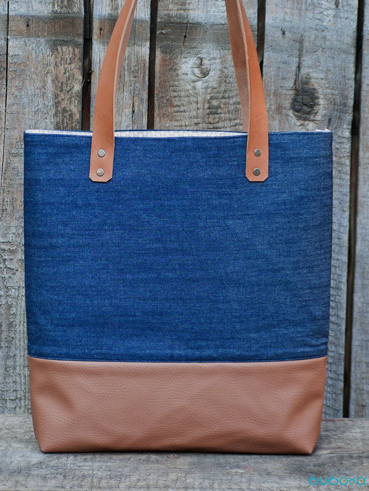 Denim Handbag, Denim Tote Bag, Big Bag, Denim Bag, Genuine Leather Straps, Zippered Pouch by buboxa on Etsy