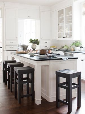 A traditional black & white kitchen. I love the dark knobs and