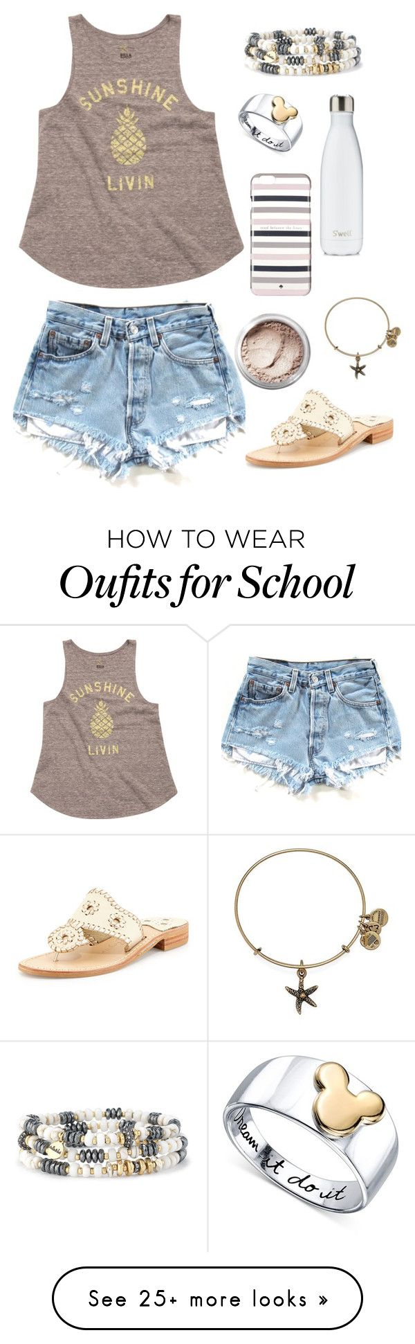 """""""Last Day of School Tomorrow!"""" by cwilkween on Polyvore featuring Billabong, Stella & Dot, Disney, S'well, Kate Spade, Jack Rogers, Alex and Ani, Bare Escentuals and cwilkween"""