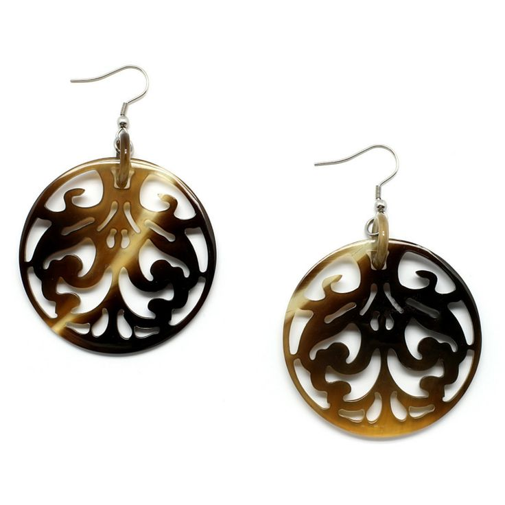 Gorgeous earrings handmade of buffalo horn. Watch our Buffalohorn jewelry collection now!