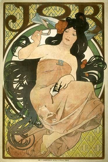 Publicité pour JOB, 1898 - Cette affiche est  la seconde que Mucha réalise pour la marque de papier à cigarette Job. Pour la composer, il s'inspire d'une fresque peinte par Michel-Ange dans la chapelle Sixtine, inscrivant une jeune femme langoureuse au centre d'un cercle.
