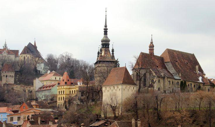 village:Sighisoara, Transylvania and the medieval rooflines of the citadel