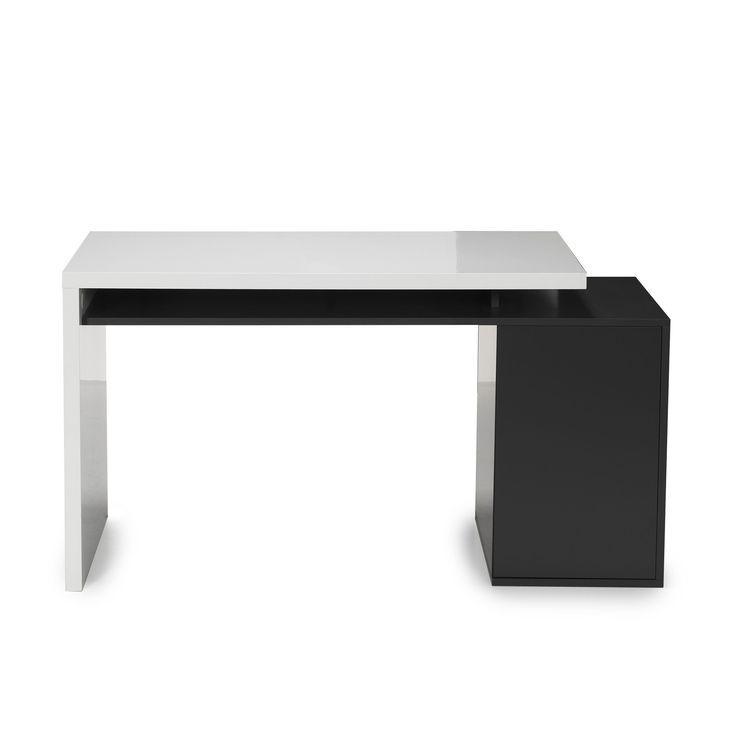 Bureau style moderne avec caisson int gr blanc gris for Alinea bureau