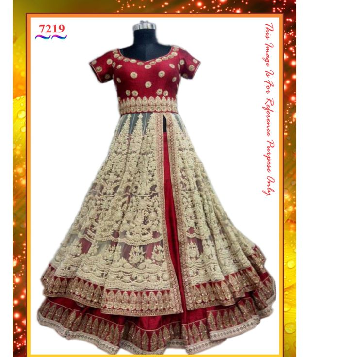 Buy Red And Crem Embroidered Indo Western Gown