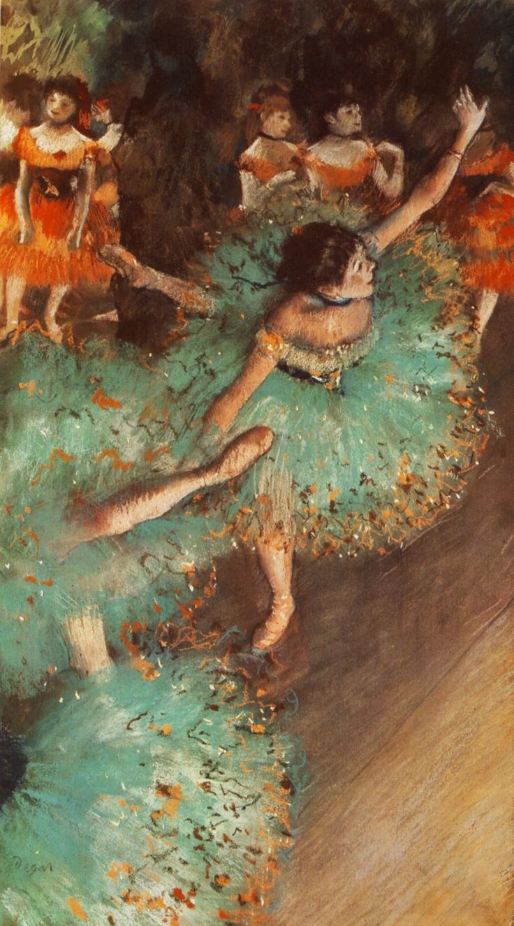 The Green Dancer, 1879 by Edgar Degas. Impressionism. genre painting. Thyssen-Bornemisza Museum, Madrid, Spain