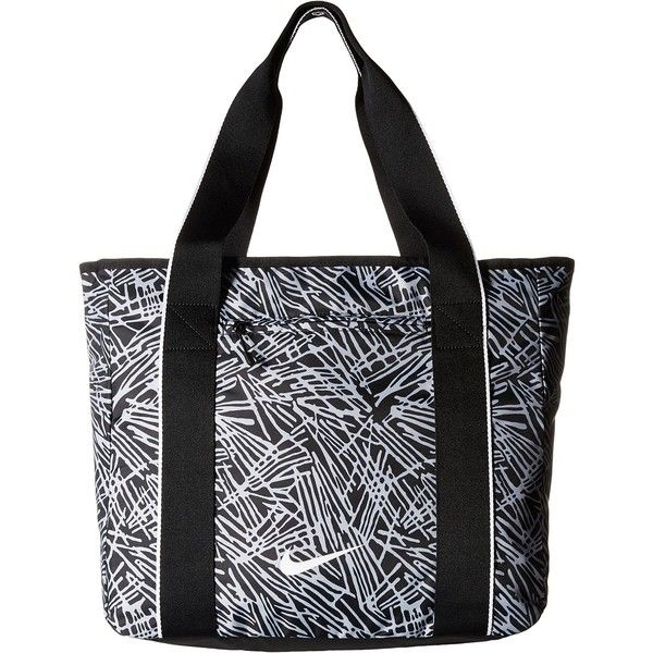 Nike Legend Track Tote (Black/Black/White) Tote Handbags ($30) ❤ liked on Polyvore featuring bags, handbags, tote bags, black, shoulder strap handbags, nike shoulder bag, shoulder strap bags, zippered tote bag and shoulder handbags