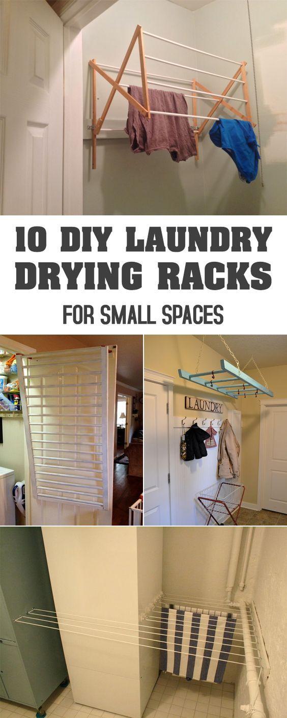 10 de bricolaje de lavandería secado Bastidores para espacios pequeños
