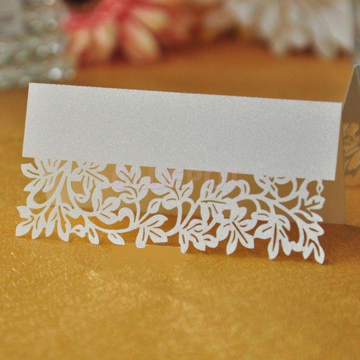 50PCS Table Name Place Cards Wedding Favours Table Decorations Laser Cut Leaf
