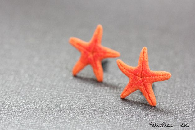 Clous/Puces d'Oreilles Etoile de Mer Orange