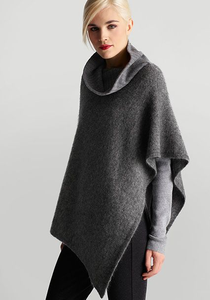 eileen fisher gray turtleneck poncho