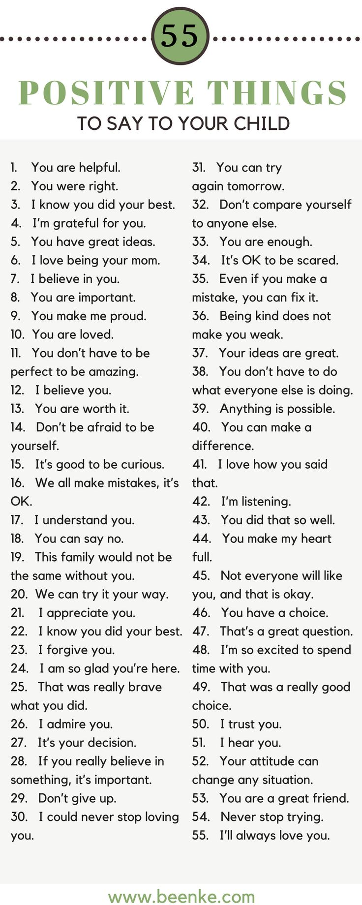 As parents, the way we speak to our children is incredibly important. Words can build kids up, and they can just as easily tear them down. Check out our list of 55 positive things to say to your child on a daily basis. Bond while you build their confidence. #beenke #parenting