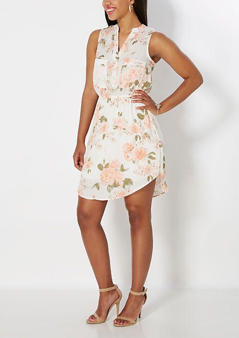 Rose Chiffon Shirt Dress   rue21