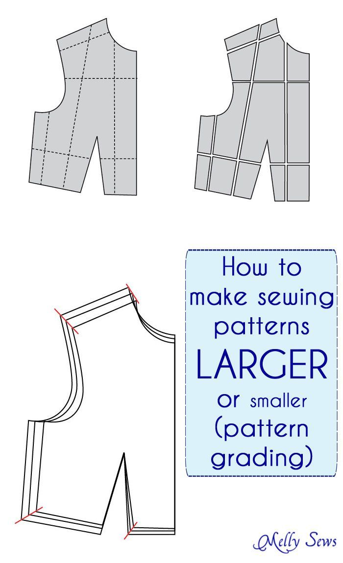 How to make a sewing pattern bigger or smaller - sewing pattern grading - make a sewing pattern a different size
