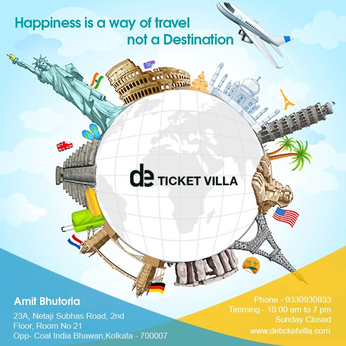 #Happiness is a way of #travel not a #Destination Visit Us at: www.deticketvilla.com Or Call Us at: 9330930933