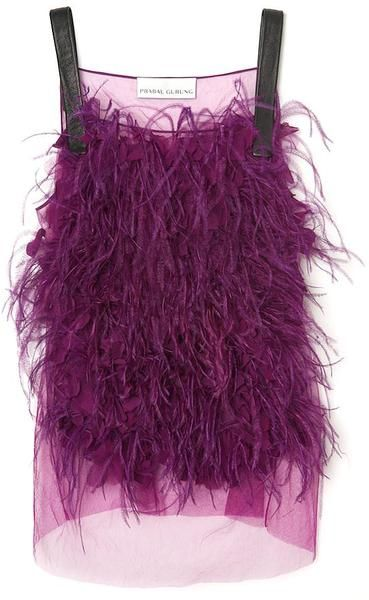 Embroidered Feather Tanke - Lyst