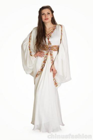 Raifah White Chiffon Gown Style Kaftan