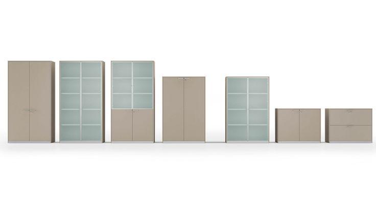 Aktenschränke Schrankwand Platinum Büroschrank In Verschiedenen Höhen Mit  Flügeltüren Und Glastüren Mit Alurahmen Schrankoberflächen Schrankwand  InHolz