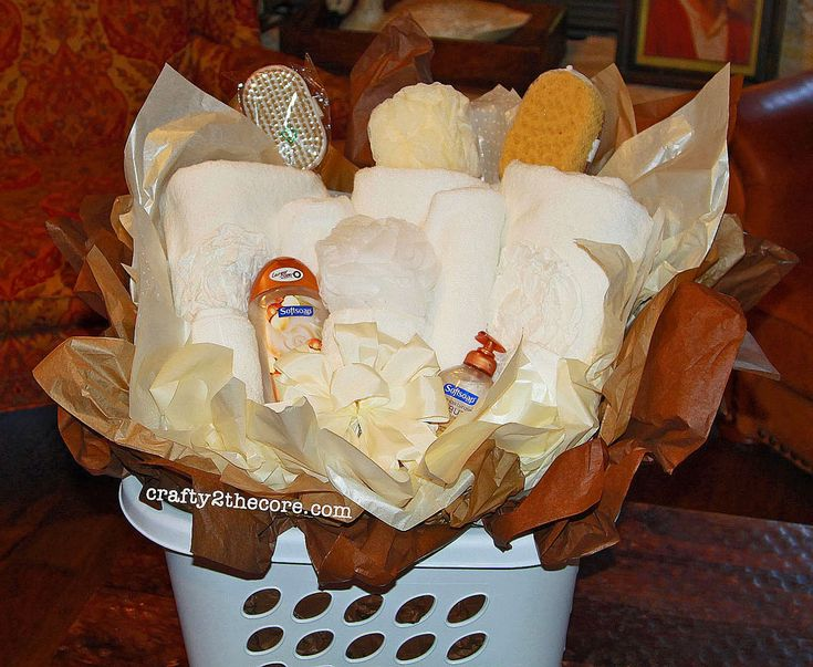 DIY Wedding Gift Basket~ using a square laundry basket and the towels the bride registered for. (Tutorial)