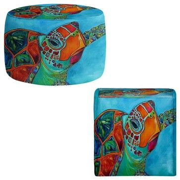 Ottoman Foot Stool - Seaglass Sea Turtle - contemporary - Ottomans And Cubes - DiaNoche Designs