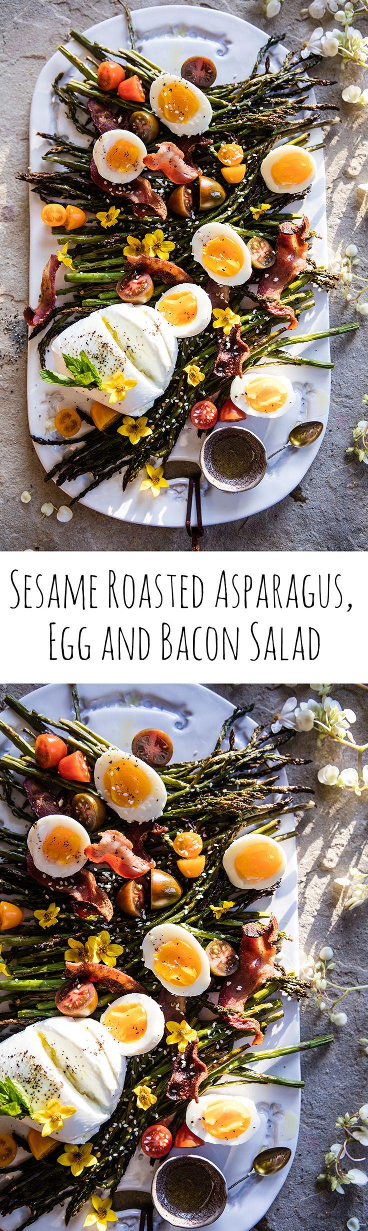 Sesame Roasted Asparagus, Egg and Bacon Salad   halfbakedharvest.com @hbharvest