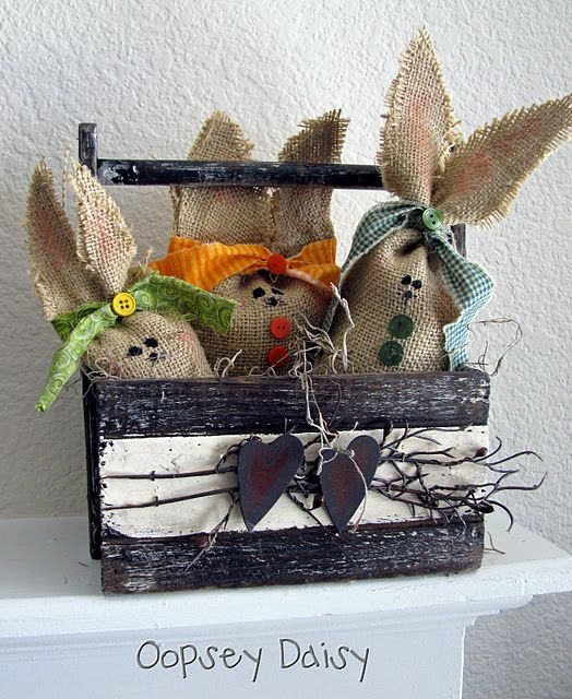 burlap bunnies - could make scented sachets or not sew the top and fill the bottom with chocolate, then just tie the ears
