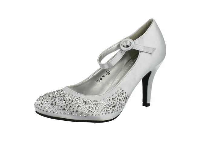 Ladies Anne Michelle Silver Court Shoes With Diamante Design L2240