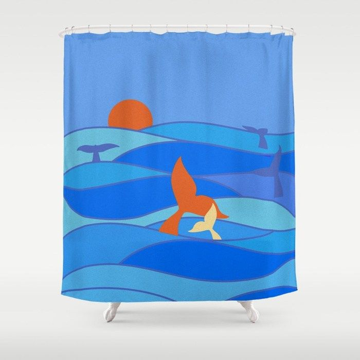 Whale Shower Curtain Sea Mammal with Seagull Print for Bathroom