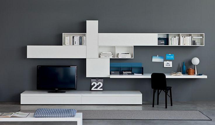soggiorno Lampo collezione LA CASA MODERNA L2-29 laccato bianco con pianale portacomputer