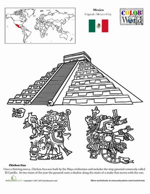 ... Grade Places Geography Worksheets: Color the World! Chichen Itza